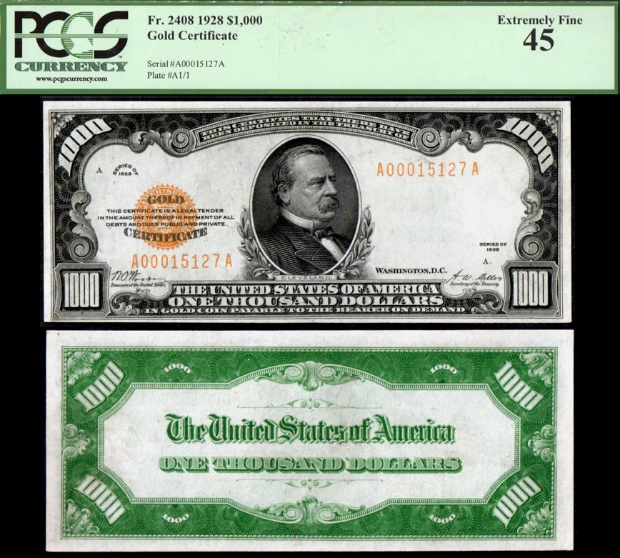1928 Fr 2408 1000 Gold Certificate