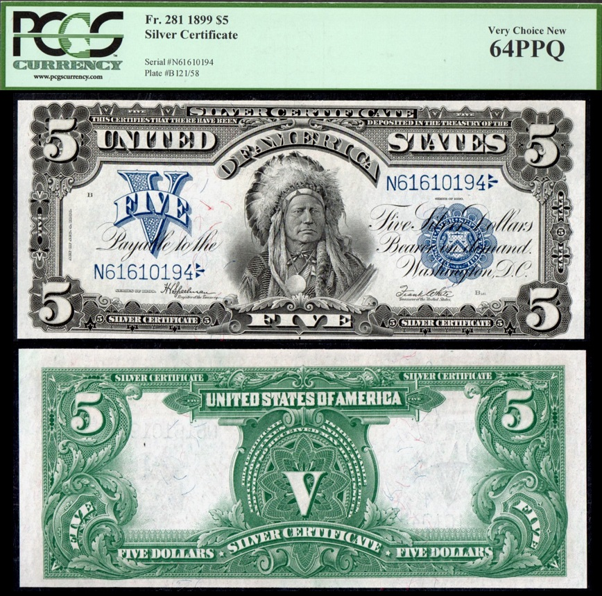 1899 $5 Chief Silver Certificate Fr. 281