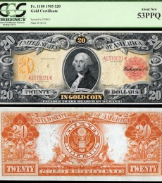 1905 $20 Technicolor Gold Certificate Fr. 1180