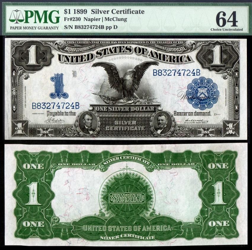 1899 $1 Black Eagle Silver Certificate Fr. 230